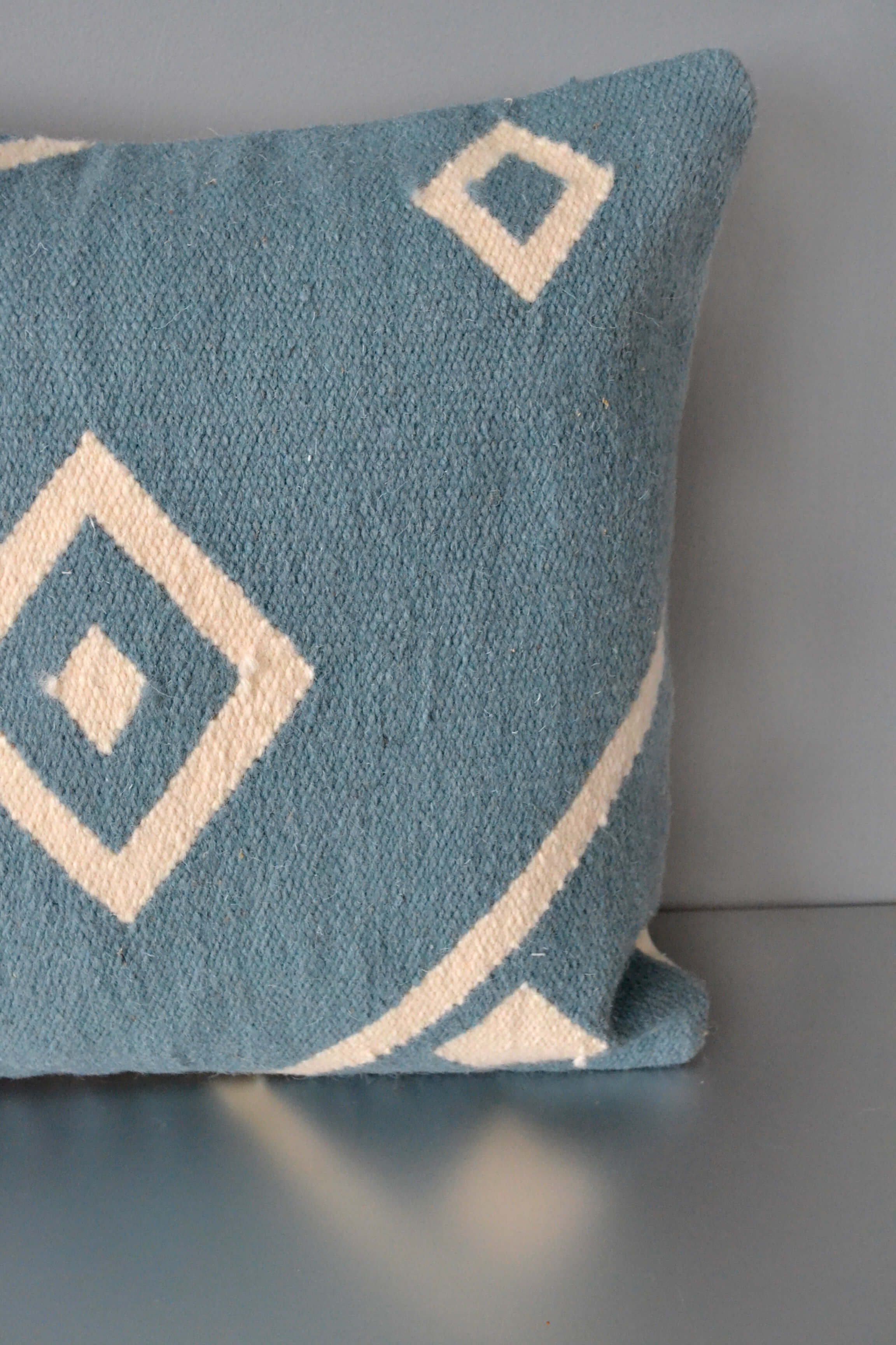 Blue Nile Wool Throw Pillow Closeup by Yuba Mercantile