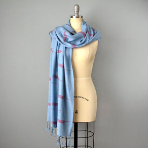 Light Blue Scarf with Fringe by Yuba Mercantile