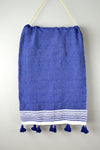 Blue and Ivory Moroccan Cotton Pom Pom Throw by Yuba Mercantile