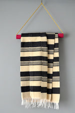 Black and Ivory Striped Cotton Throw Blanket by Yuba Mercantile