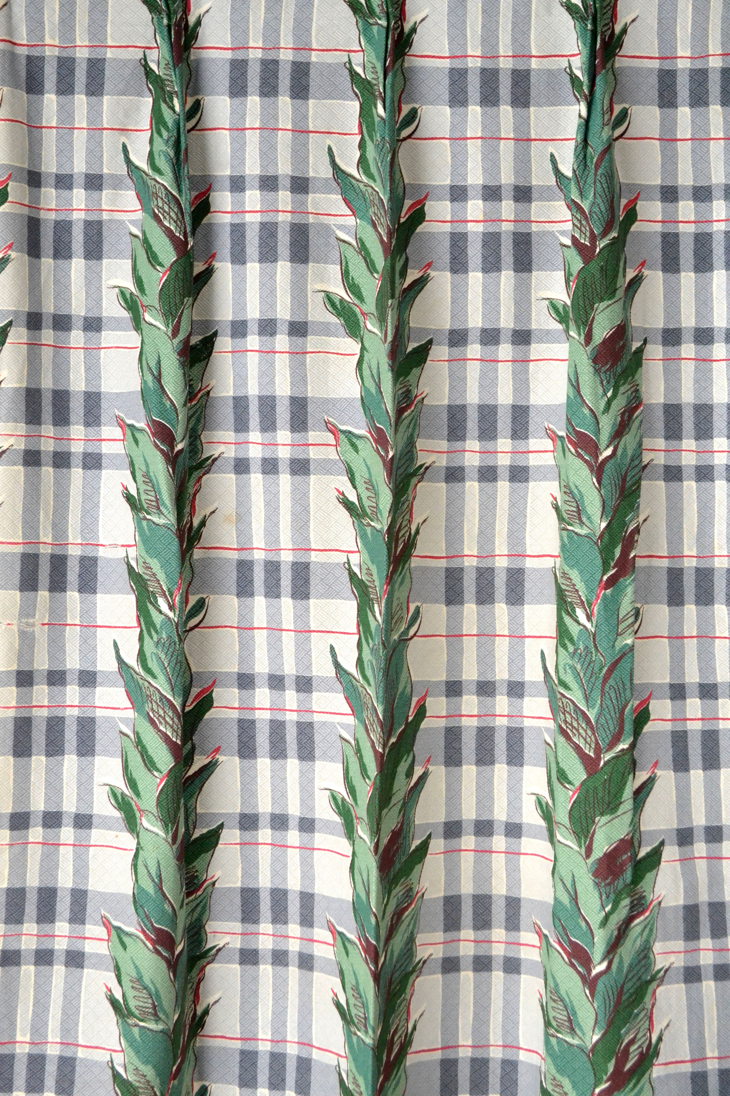 Vintage 1940s Plaid and Vines Barkcloth Curtains by Yuba Mercantile