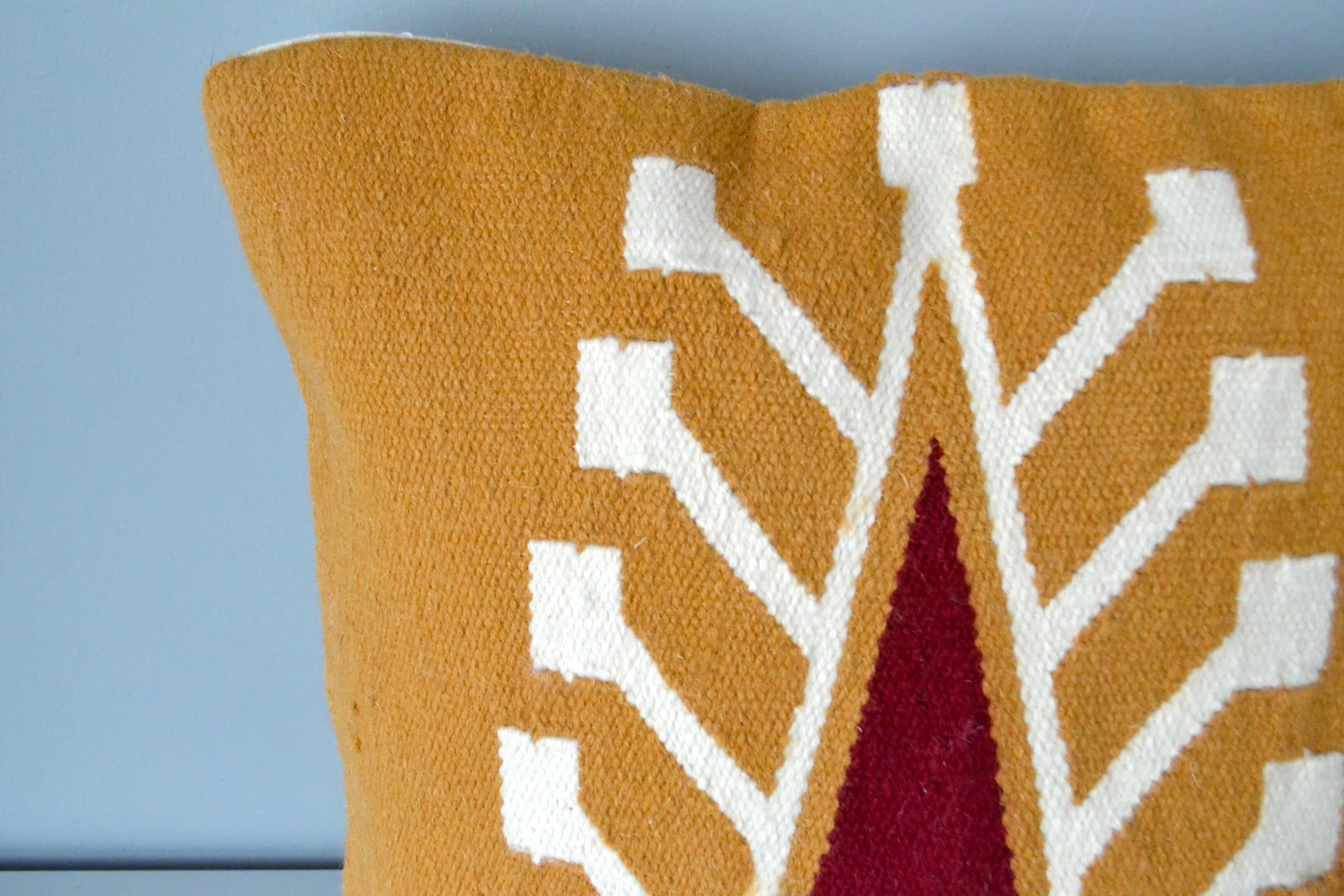 Burnt Orange Wool Cypress Pillow Cover Closeup by Yuba Mercantile