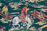Vintage 1940s Cowboy Rodeo Print Green Barkcloth Drapes