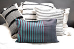 Striped purple and teal cotton throw pillow by Yuba Mercantile