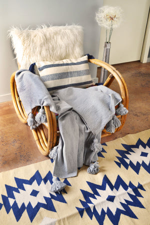 Gray Moroccan Pom Pom Throw
