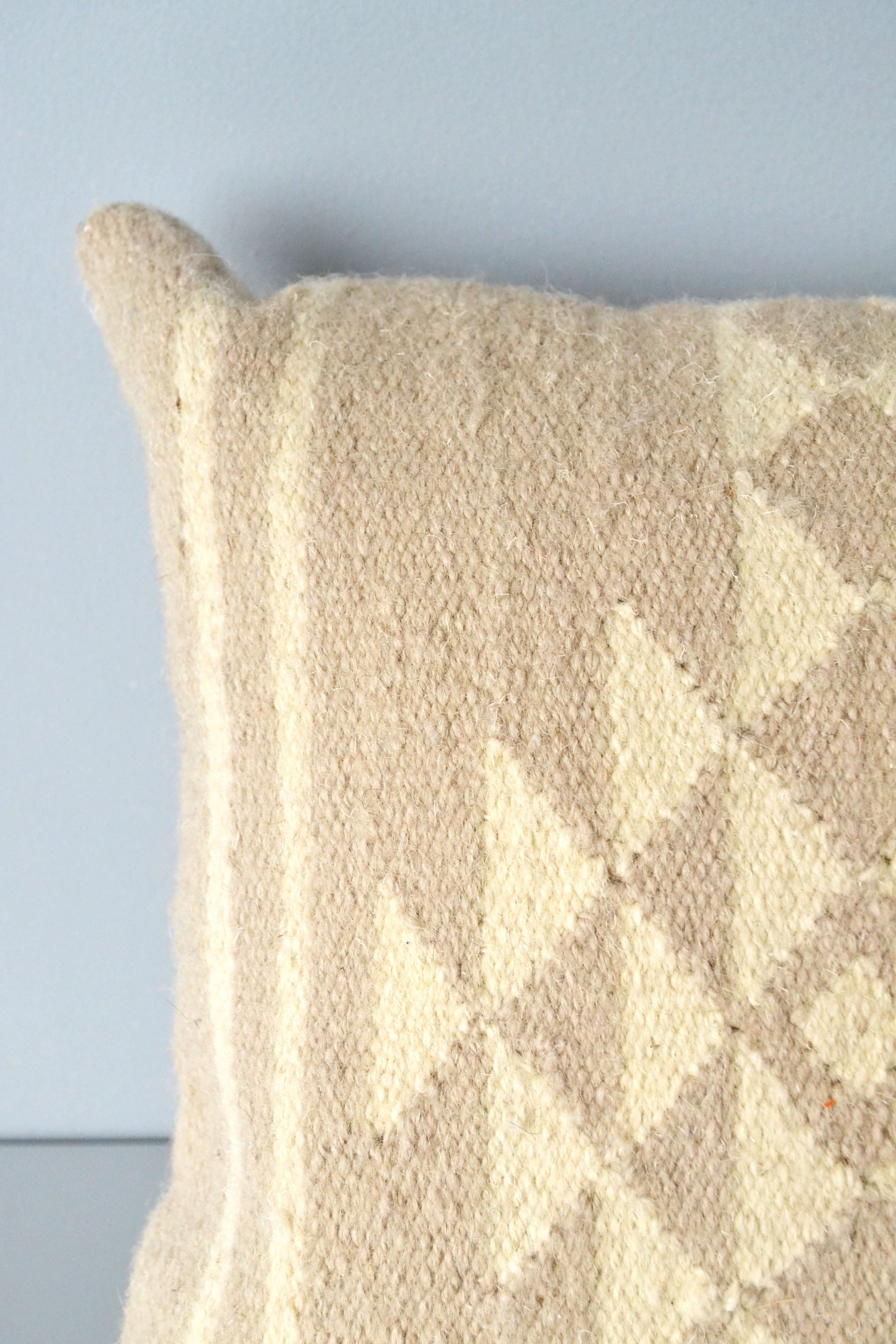 Neutral Sahara Wool Kilim Pillow Closeup by Yuba Mercantile