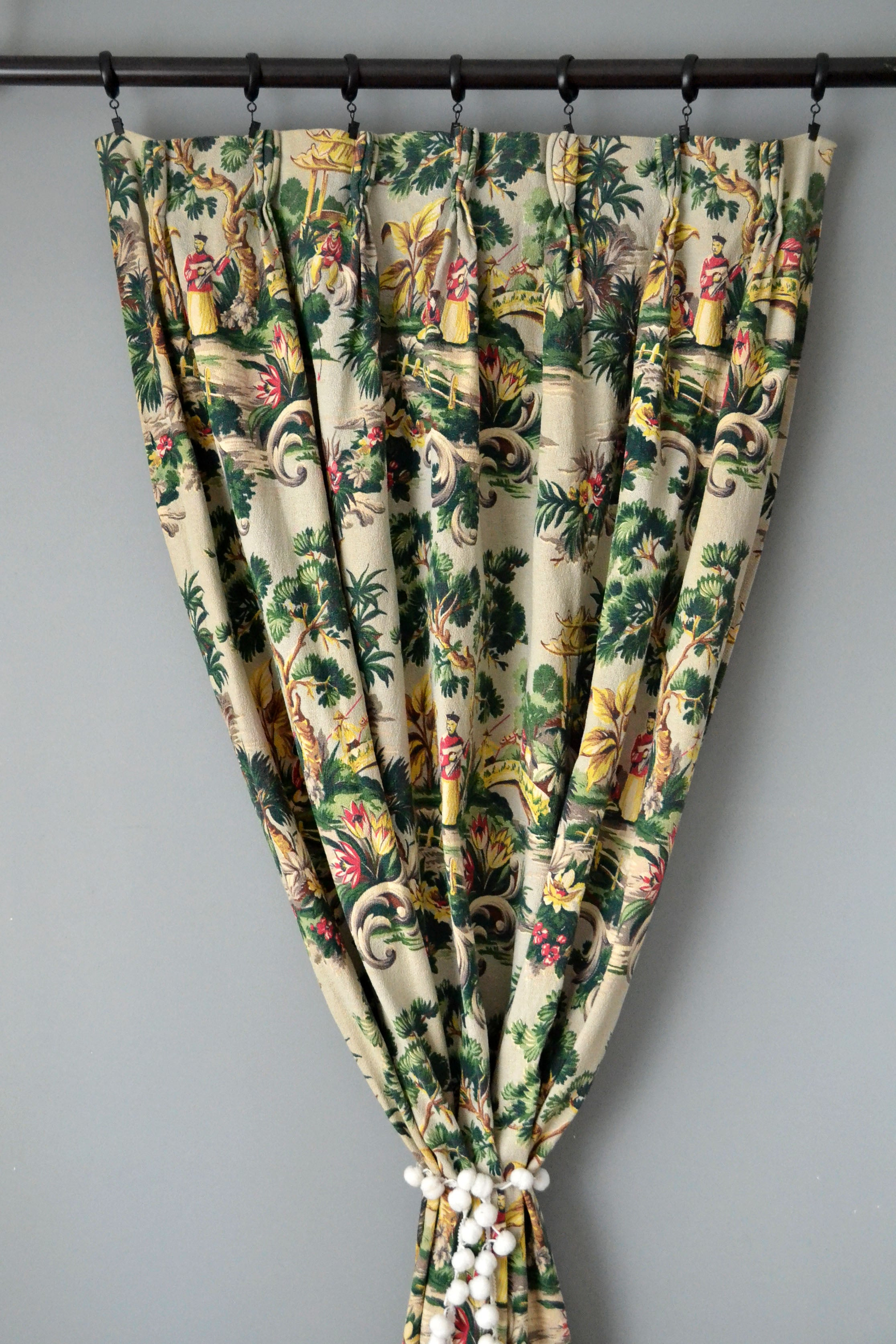 Vintage Chinoiserie Barkcloth Curtains