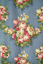 Vintage 40s Blue Faille Rose Print Deadstock Yardage