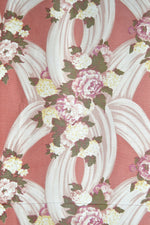 Vintage 40s Dusty Rose Peonies Print Faille Curtains