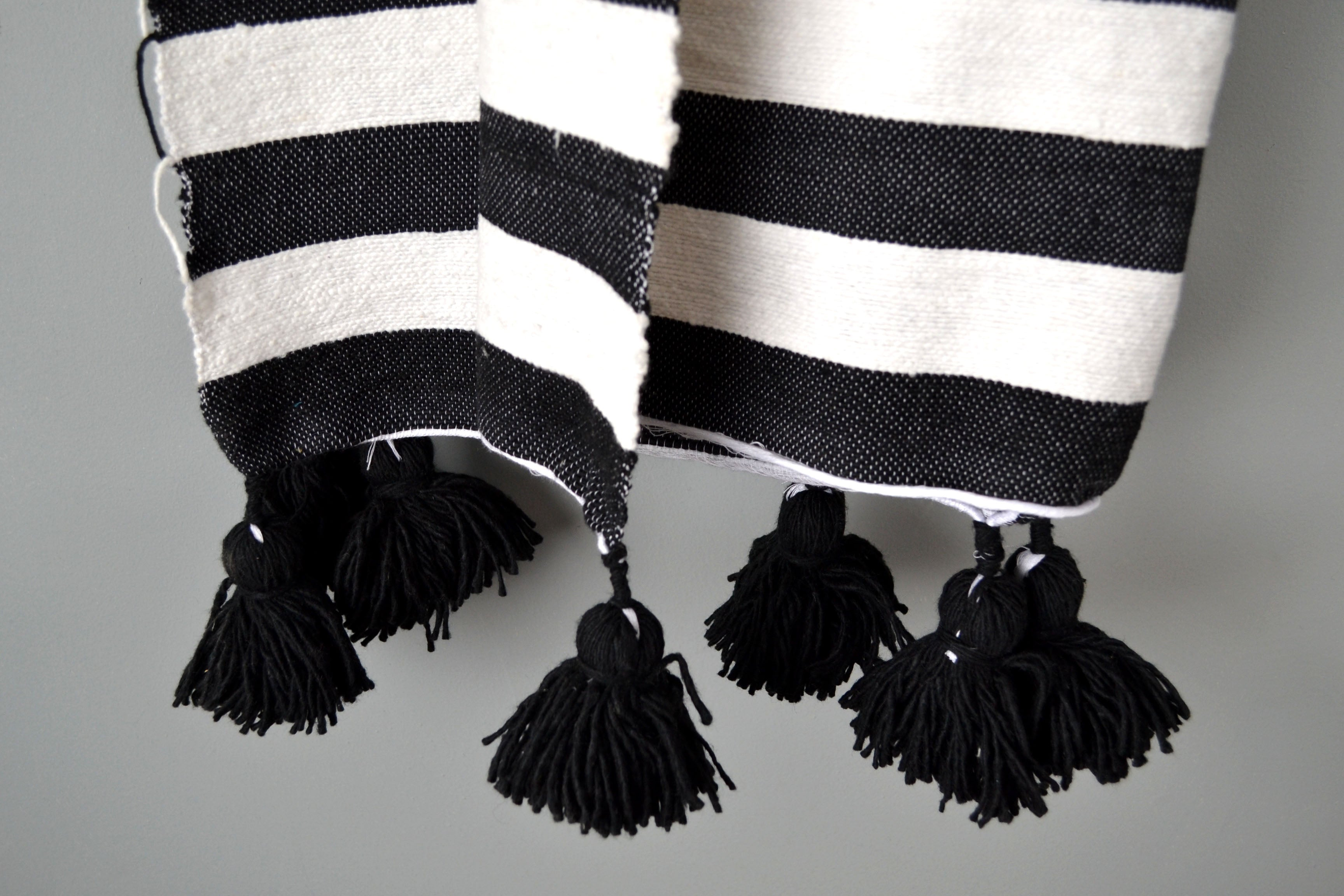 Striped Cotton Pom Pom Throw