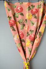 Vintage Dusty Rose Peony Print Faille Curtains