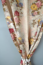 Vintage 40s Romantic Rose Print Silk and Cotton Curtains
