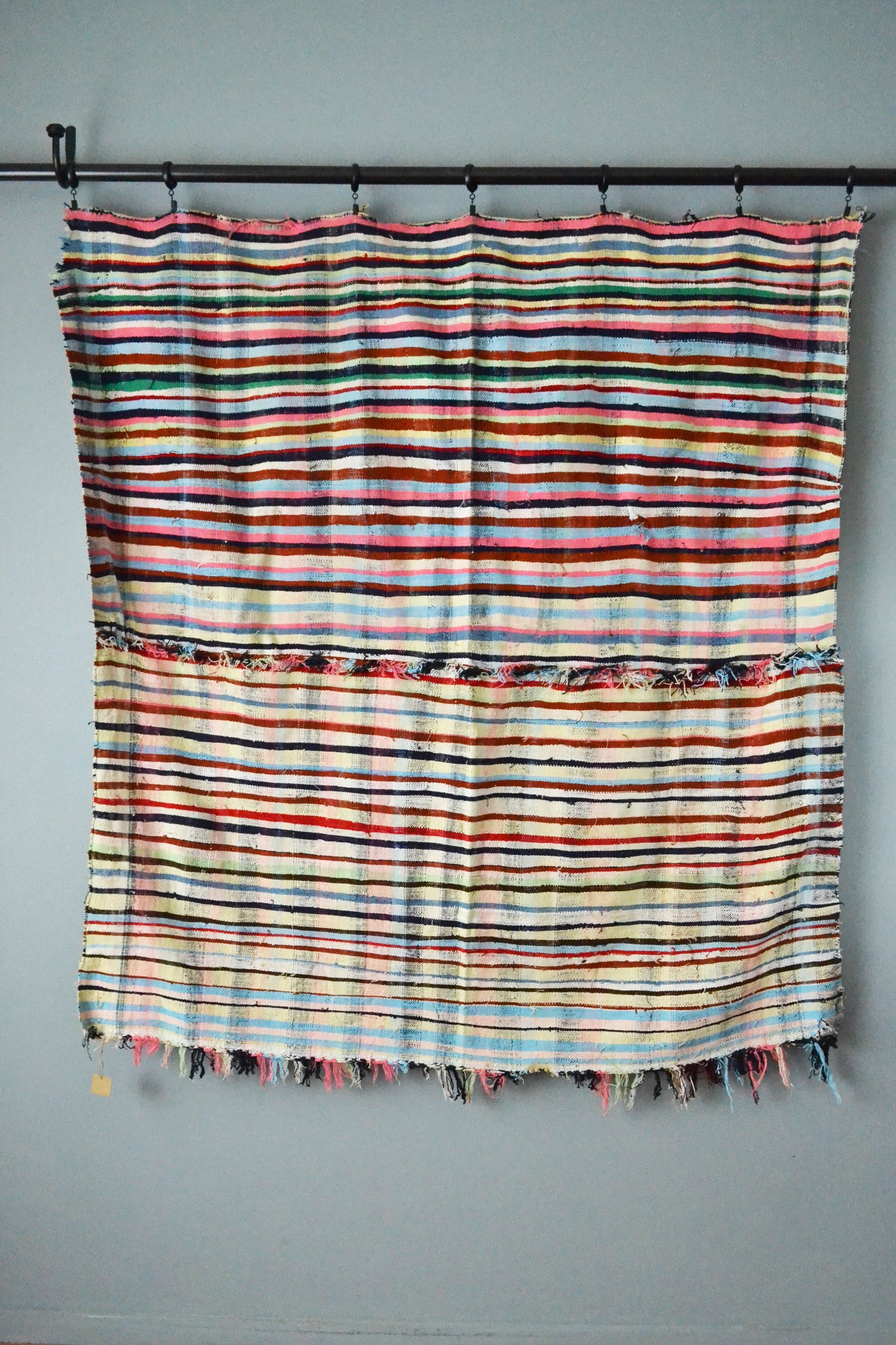 Vintage Striped Cotton Throw Blanket with Fringe by Yuba Mercantile