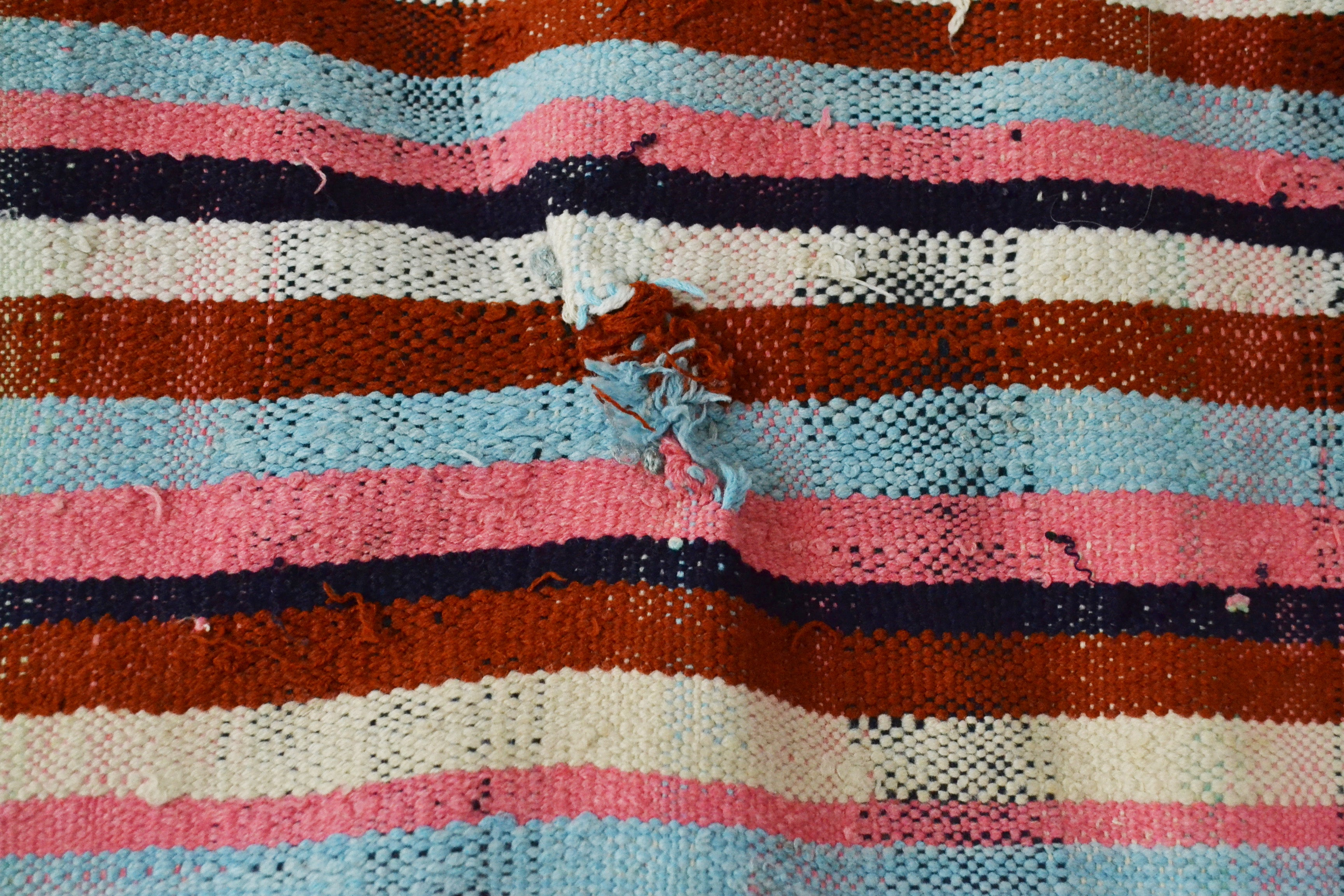 Vintage Moroccan Striped and Fringed Cotton Blanket