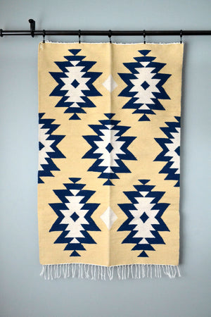 Blue Medallions Kilim Rug from Egypt by Yuba Mercantile
