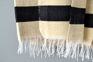 Chalk and White Striped Cotton Blanket