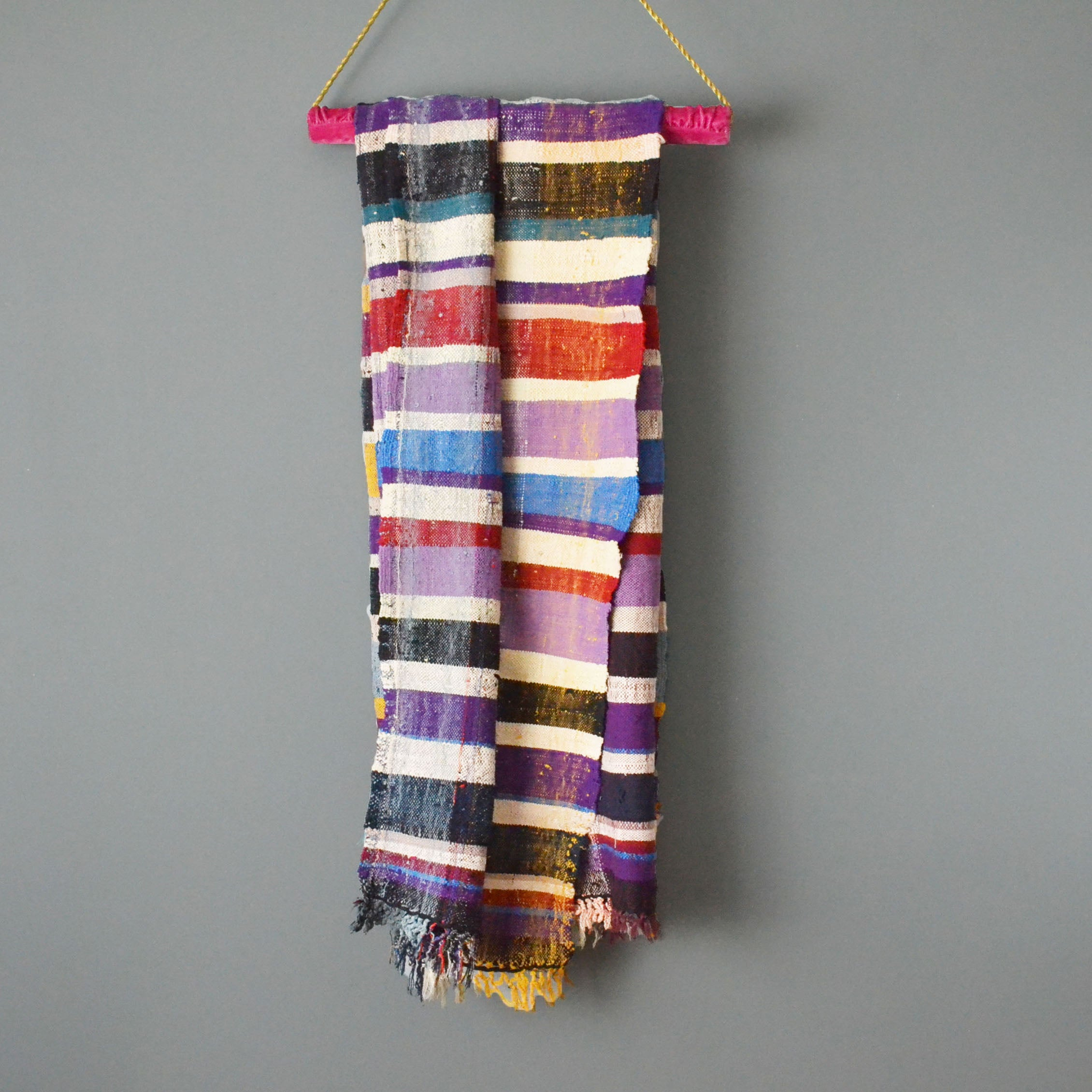 Vintage Moroccan Striped Cotton Blanket