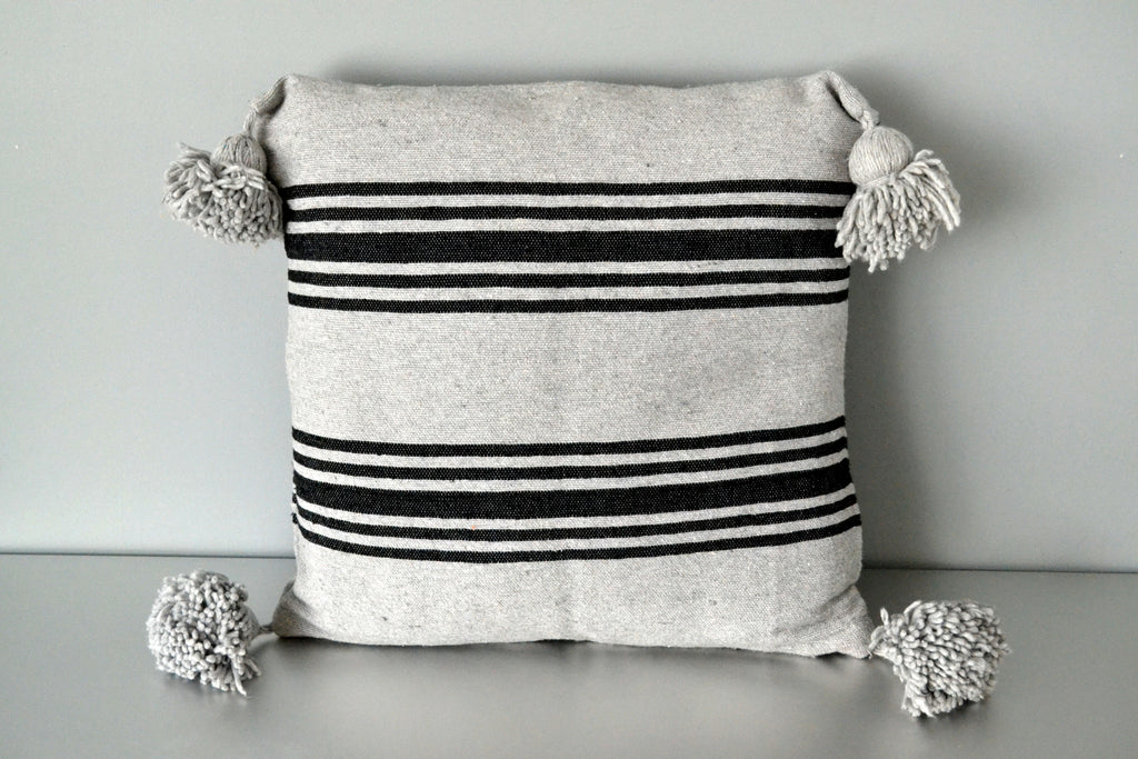 Gray Moroccan Pom Pom Pillow