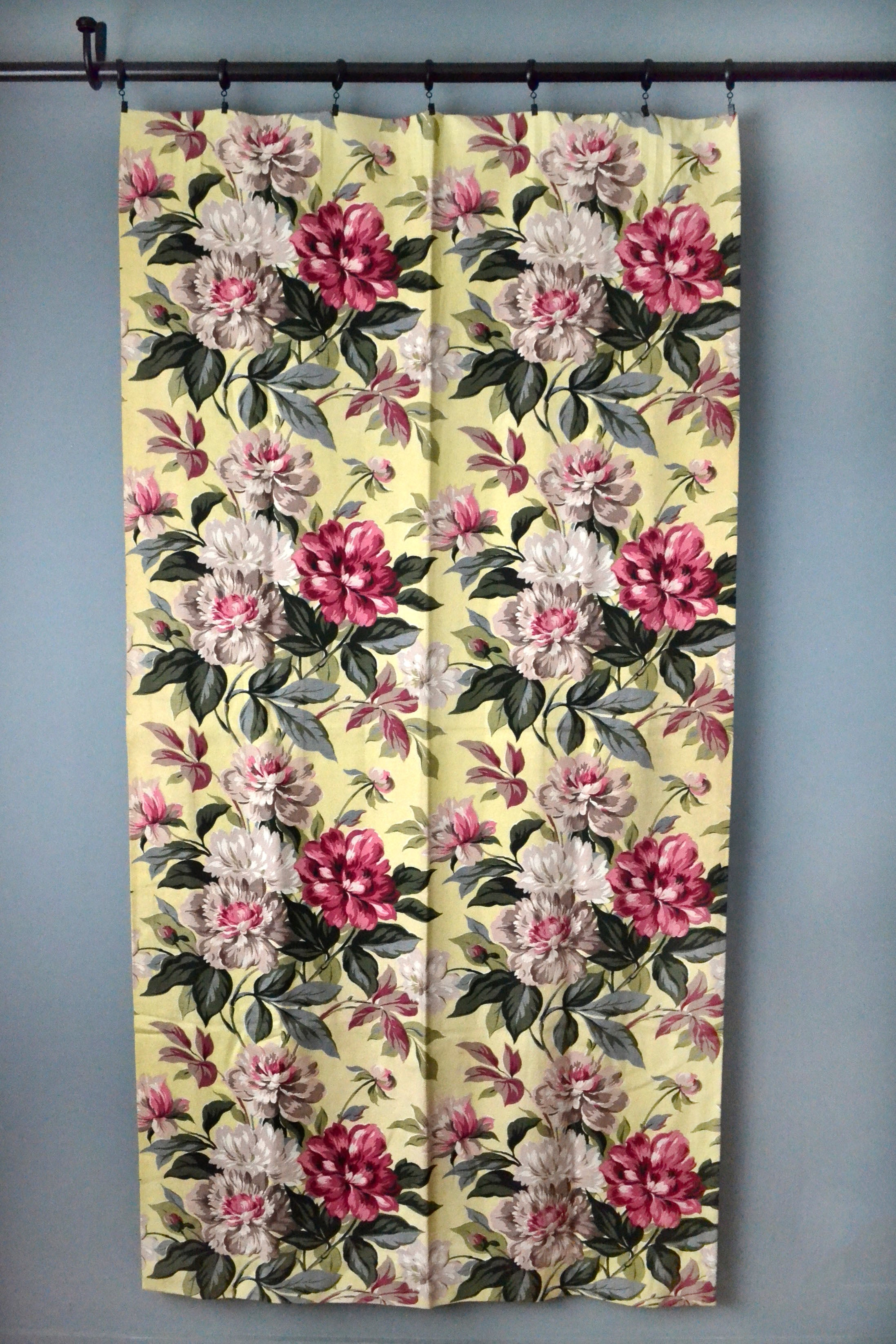 Vintage 40s Rose Print Yellow Barkcloth Curtains