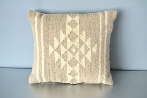 Neutral Sahara Wool Kilim Pillow by Yuba Mercantile