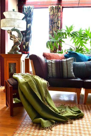 Green Cotton Handwoven Throw Blanket by Yuba Mercantile