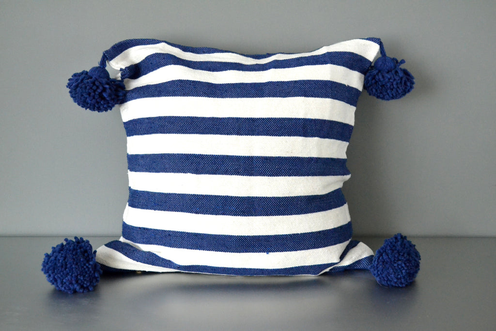 Blue Striped Moroccan Pom Pom Pillow