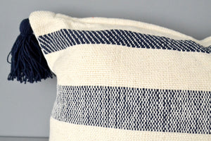 Navy stripe woven cotton tassel throw pillow by Yuba Mercantile