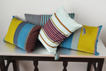 Colorful striped cotton throw pillows by Yuba Mercantile
