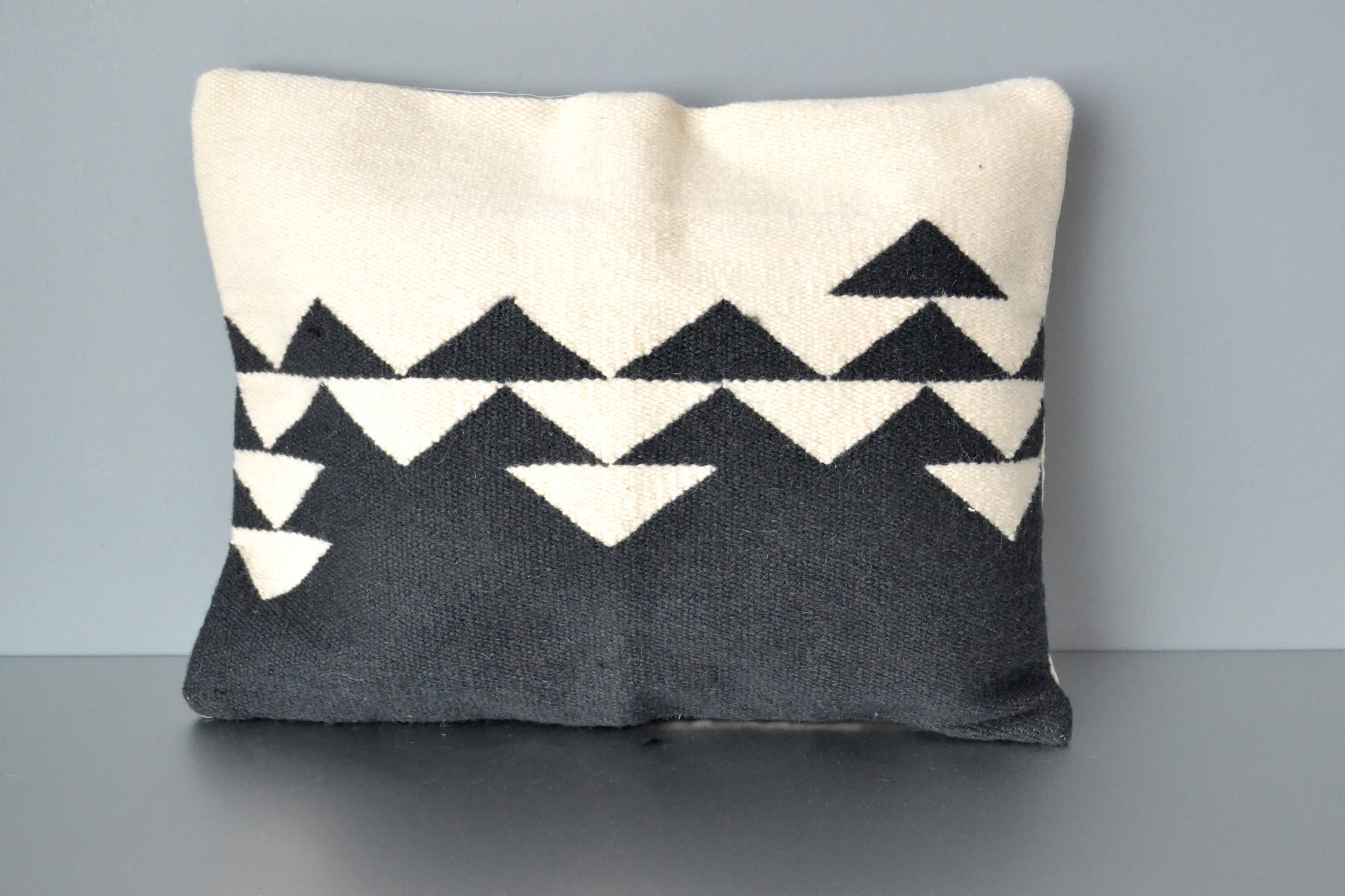 Directions Black and White Wool Lumbar Pillow by Yuba Mercantile