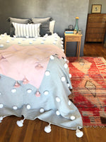 Dusty Pink Cotton Pom Pom Throw