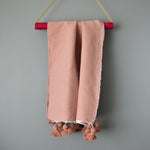 Dusty Pink Lightweight Cotton Moroccan Pom Pom Throw by Yuba Mercantile