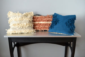 Wool fringe throw pillows by Yuba Mercantile