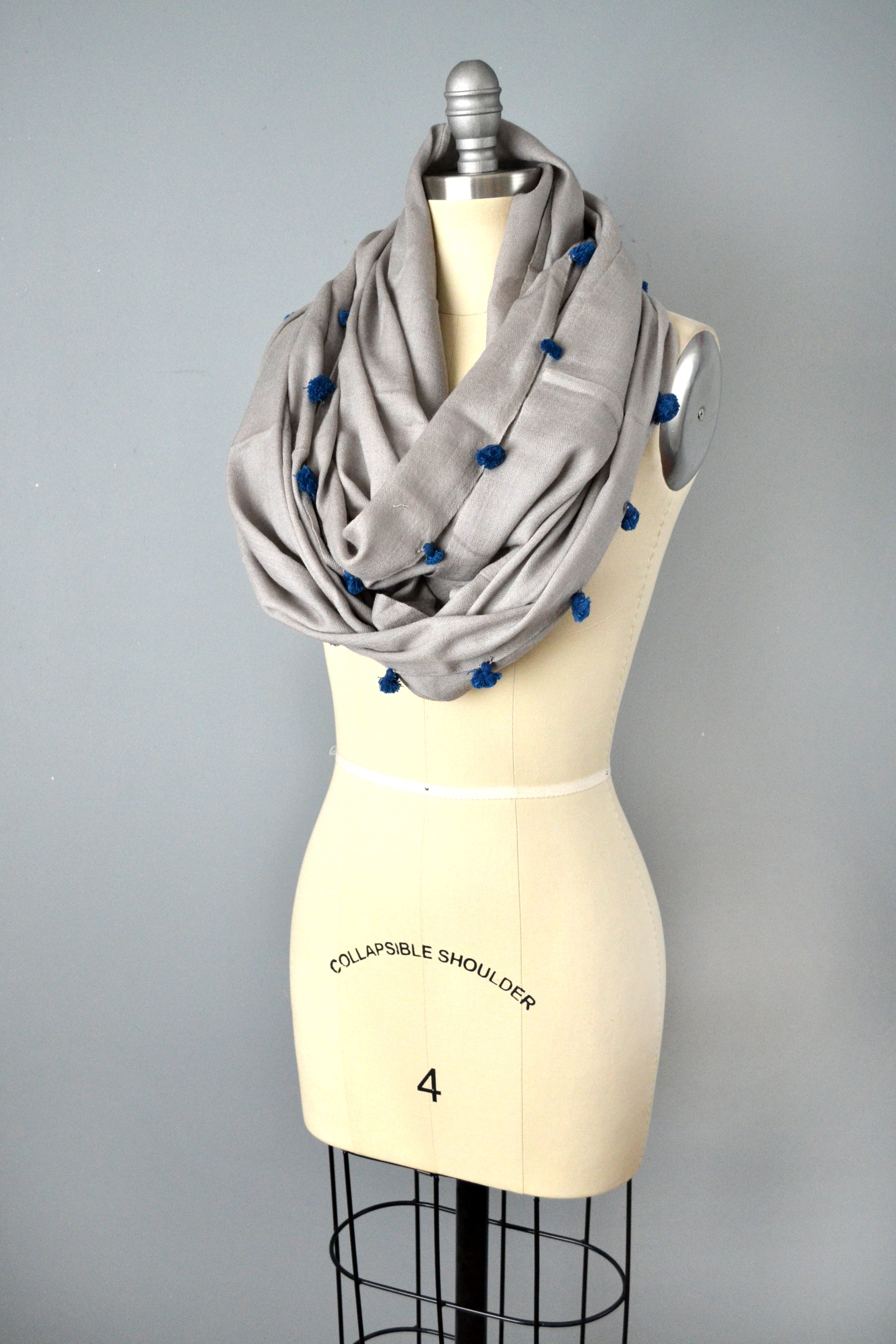Gray cotton pom pom infinity scarf by Yuba Mercantile