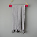 Gray Lightweight Cotton Moroccan Pom Pom Throw by Yuba Mercantile
