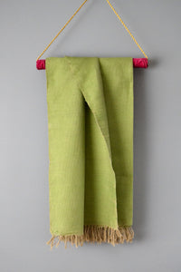 Green Cotton Linen Handwoven Moroccan Throw by Yuba Mercantile