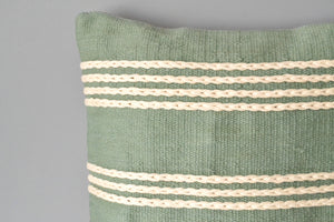Green Meadow Cotton Pillow Closeup by Yuba Mercantile