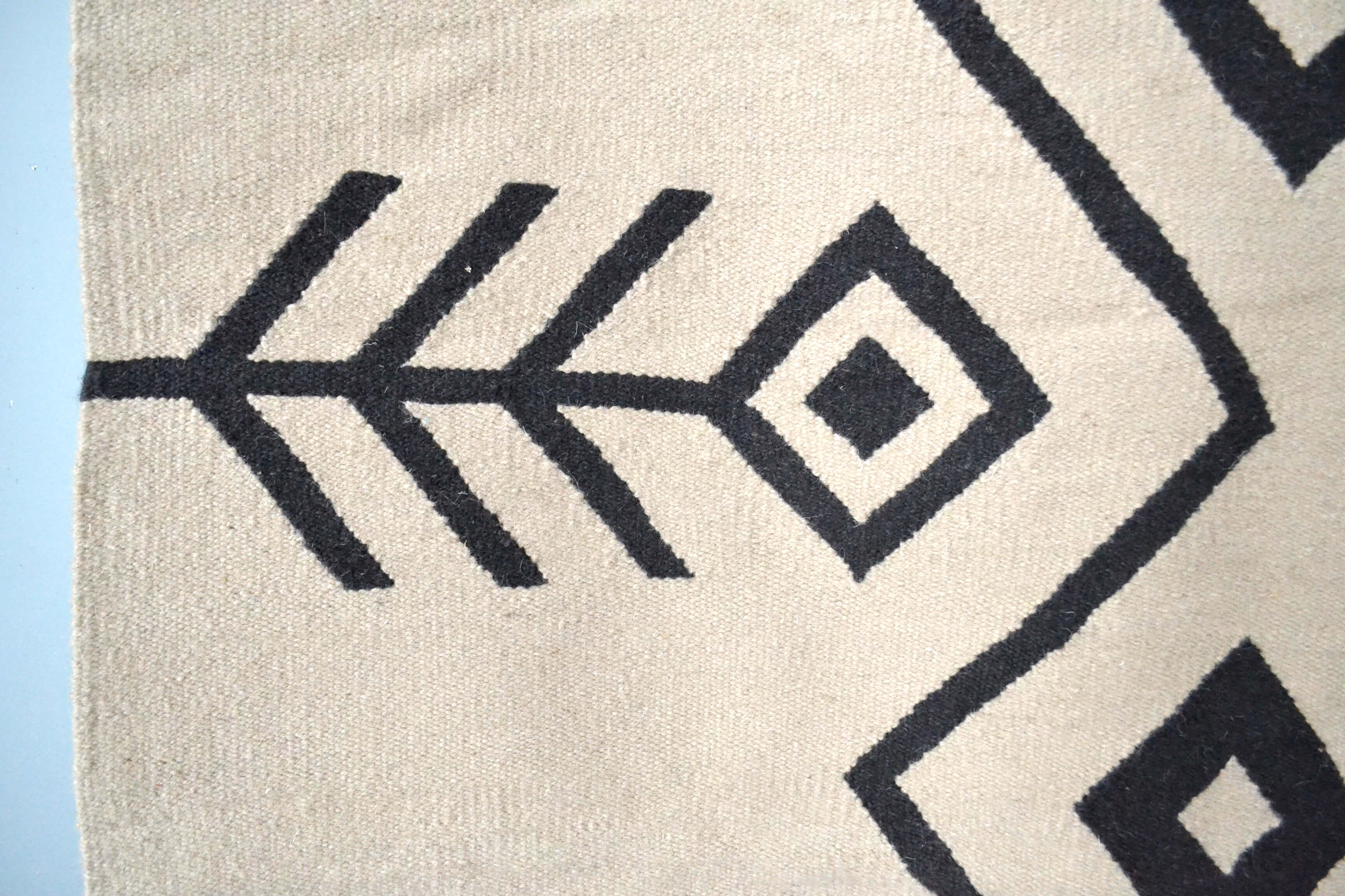 Neutral Hayat Wool Kilim Area Rug Closeup by Yuba Mercantile