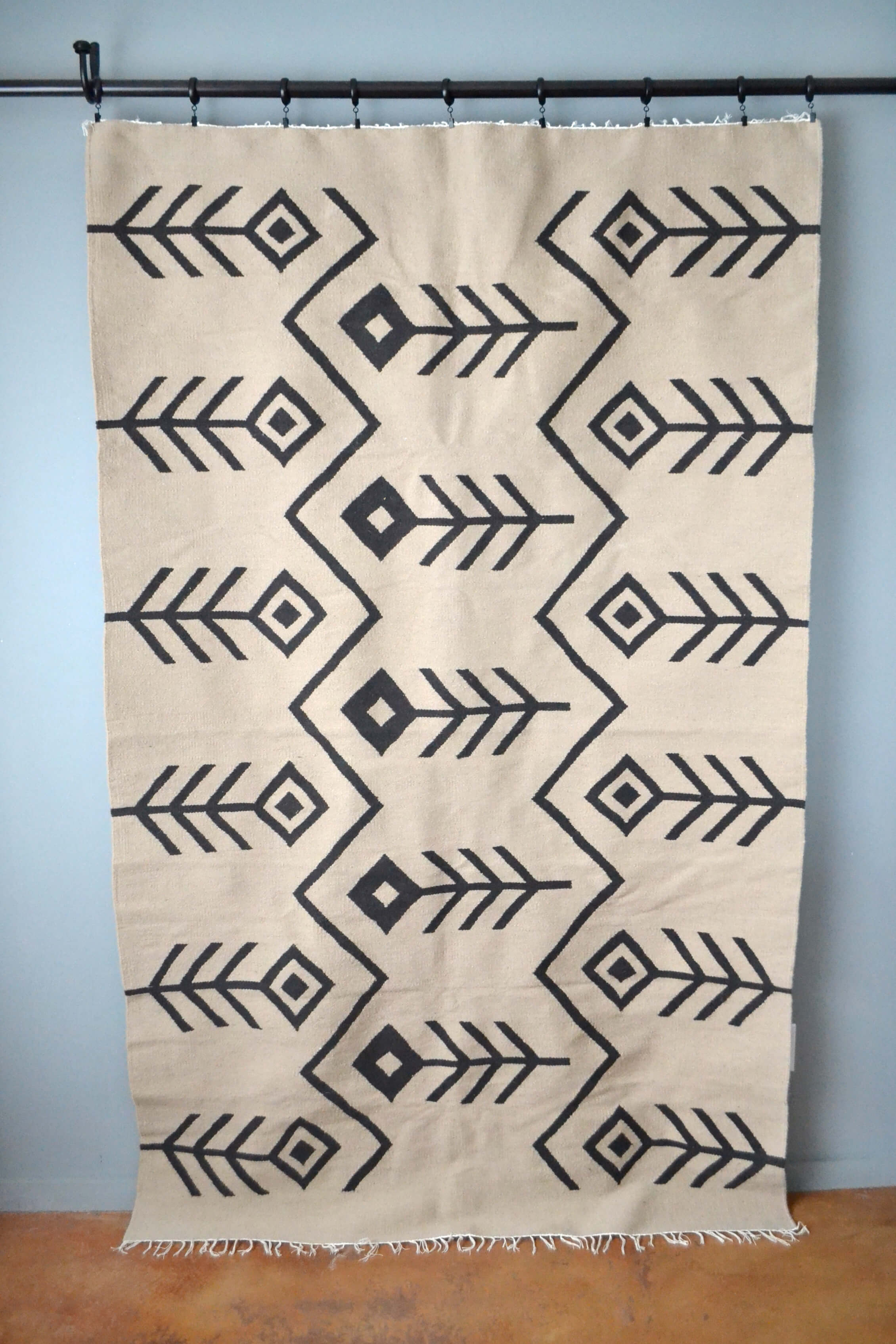 Neutral Hayat Wool Kilim Area Rug by Yuba Mercantile