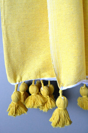 Mustard Lightweight Cotton Moroccan Pom Pom Throw by Yuba Mercantile
