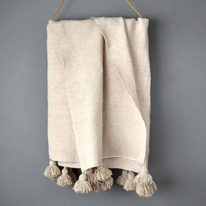 Ivory Moroccan Pom Pom Blanket by Yuba Mercantile