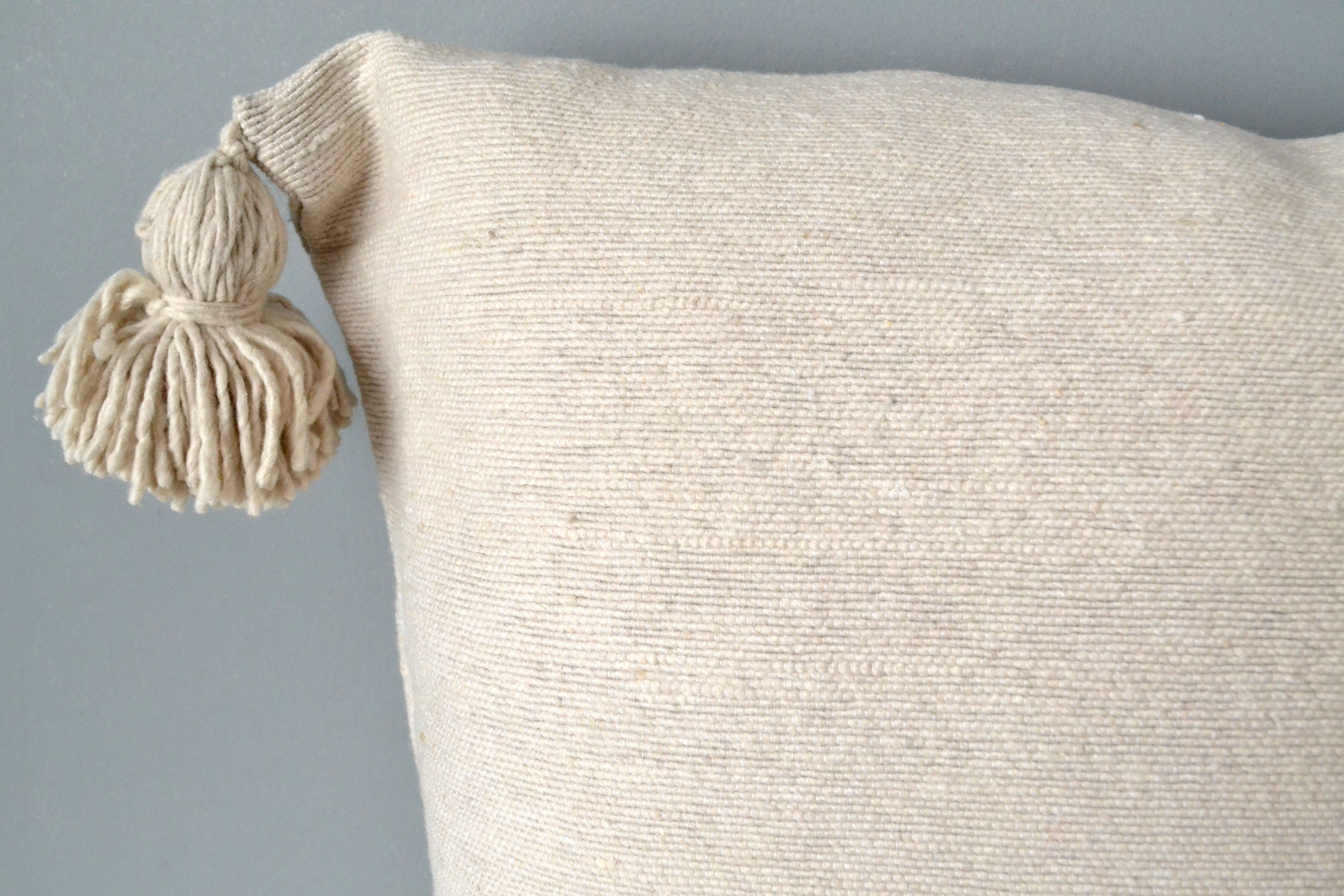 Natural Cotton Pom Pom Throw Pillow by Yuba Mercantile