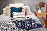 Navy Stripe Tassel Pillow