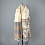 Neutral Striped Cotton Shawl by Yuba Mercantile