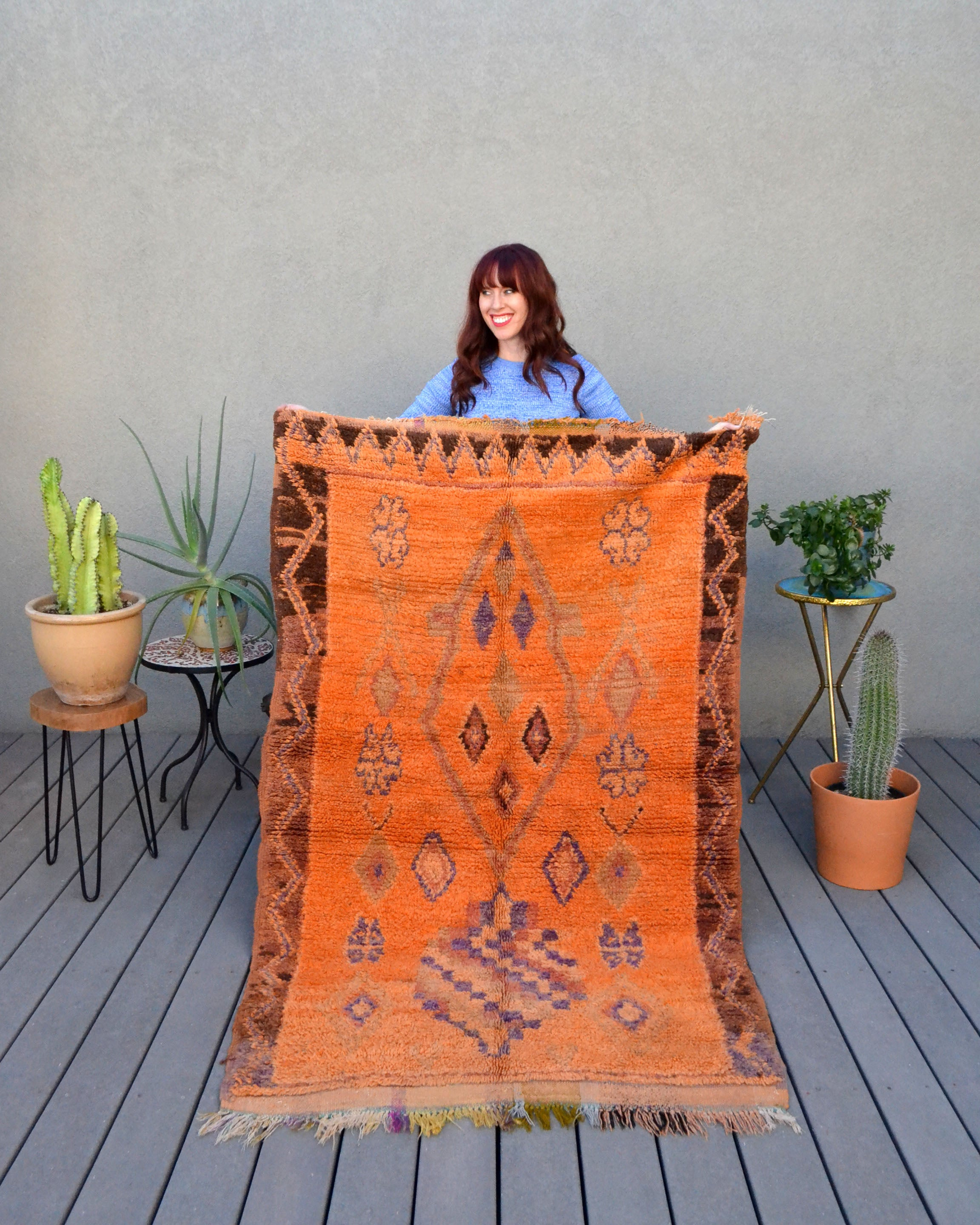 Tangerine Vintage Azilal Rug from Yuba Mercantile