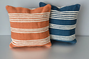 Terracotta and Blue Meadow Cotton Pillow by Yuba Mercantile