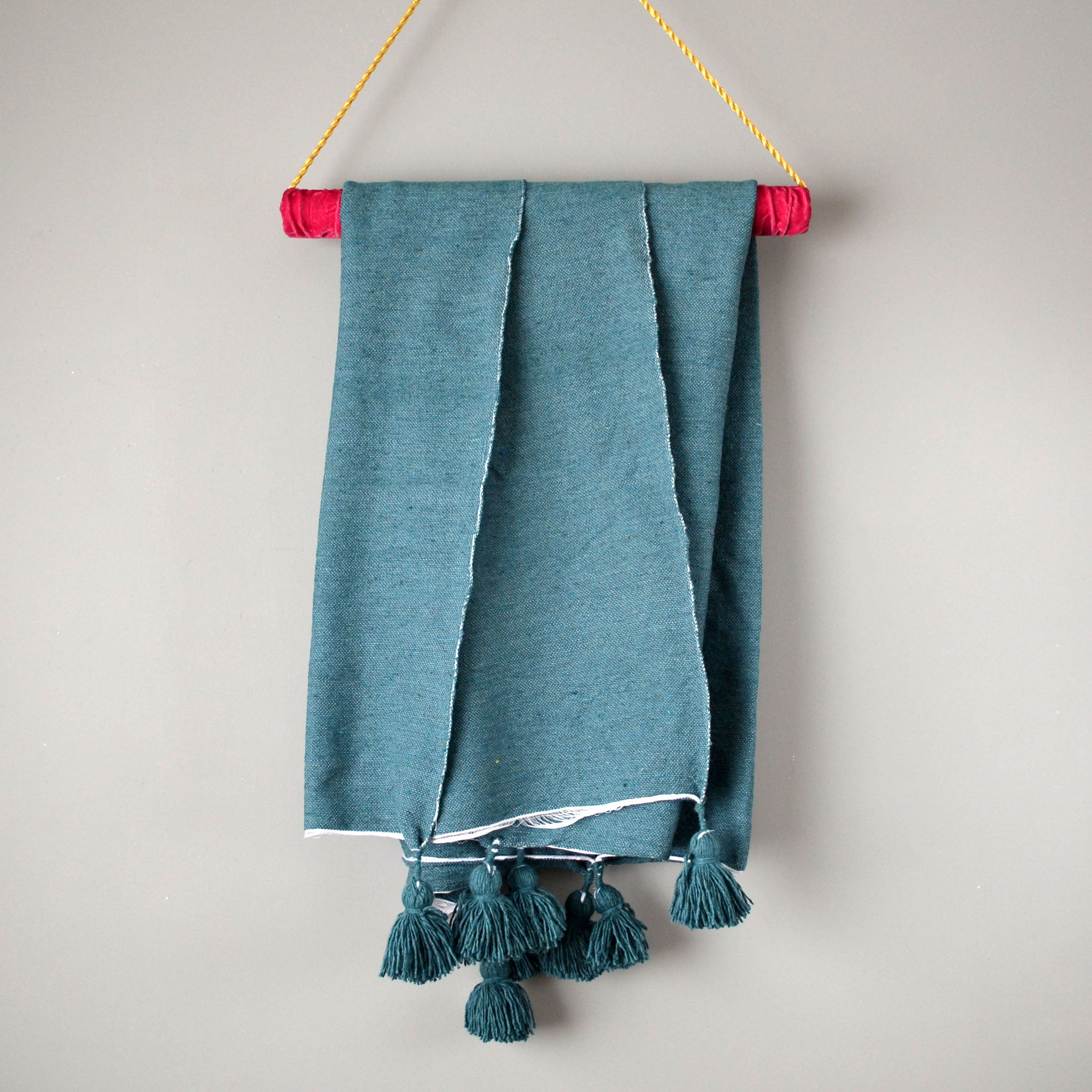 Blue Green Cotton Pom Pom Throw Blanket by Yuba Mercantile