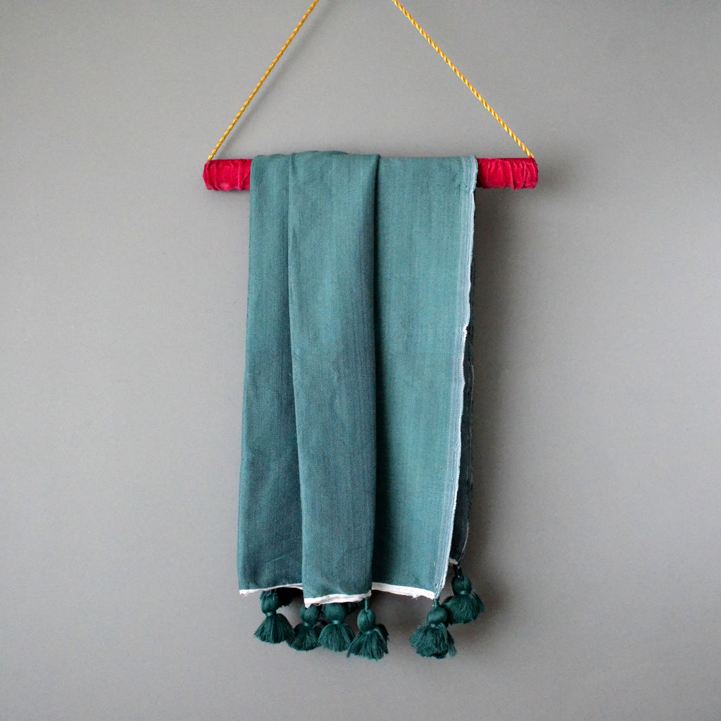Peacock Lightweight Cotton Moroccan Pom Pom Throw by Yuba Mercantile