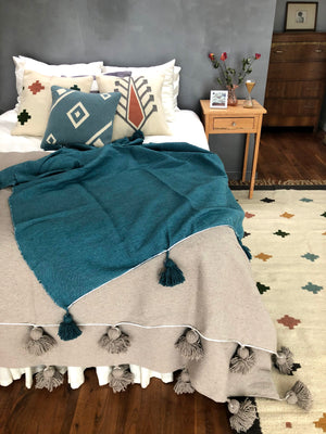 Putty Moroccan Pom Pom Blanket