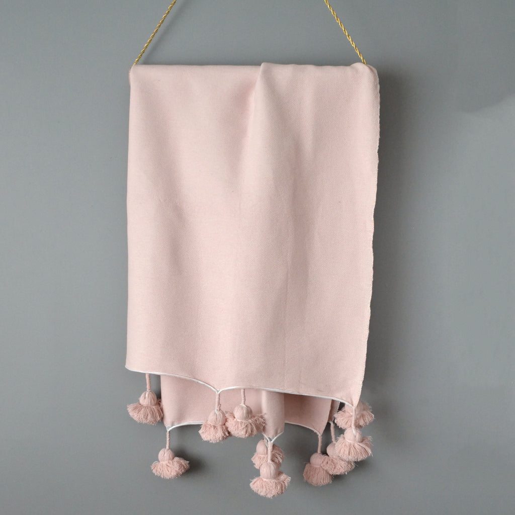 Dusty Pink Cotton Pom Pom Throw from Yuba Mercantile