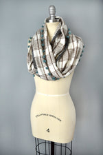Plaid pom pom infinity scarf by Yuba Mercantile